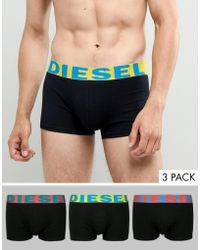 DIESEL - Shawn Trunks In 3 Pack With Contrast Waistband In Black - Lyst