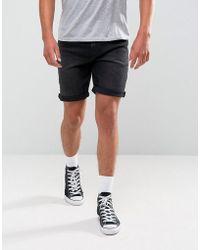 ASOS - Denim Shorts In Stretch Slim 12.5oz Washed Black - Lyst