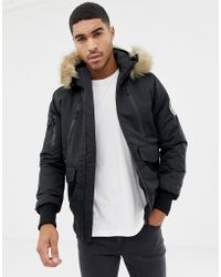 Good For Nothing - Bomber Jacket In Black With Faux Fur Hood - Lyst