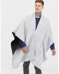 ASOS - Reversible Cape In Gray Grid Check - Lyst