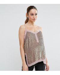 ASOS - Petite Sequin Cami Top With Sheer Insert - Lyst