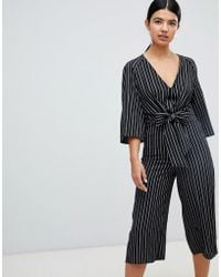 Miss Selfridge - Tie Front Stripe Culotte Jumpsuit - Lyst