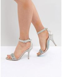 Betsey Johnson - Blue By Betsy Johnson Silver Embellished Heeled Wedding Sandals - Lyst
