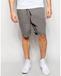 Lindbergh - Loose Shorts With Fold Over Front In Grey - Lyst