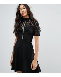 ASOS - High Neck Skater Dress With Lace Panel - Lyst