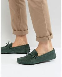 ASOS - Driving Shoes In Green Suede With Tie Detail - Lyst
