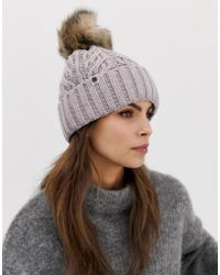 UGG - Pom Grey Cable Cuff Beanie Hat With Sheepskin Pom - Lyst