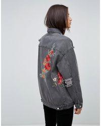 Uncivilised - Floral Embroidered Destroyed Denim Jacket - Lyst