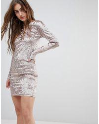 Blend She | Val Crushed Velvet Bodycon Dress | Lyst
