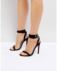 Truffle Collection - Embellished Buckle Skinny Heel Sandal - Lyst