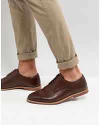 ASOS - Derby Shoes In Brown Faux Leather With Natural Sole - Lyst