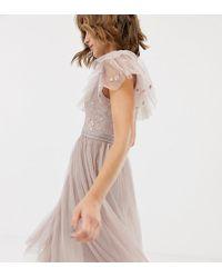 Needle & Thread - Vestido skater de tul en rosa con bordado en el corpiño - Lyst
