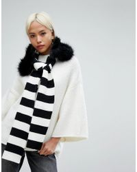 Urbancode - Stripe Knitted Scarf With Detachable Faux Fur Collar - Lyst