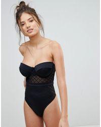 ASOS - Design Fuller Bust Diamond Mesh Cupped Swimsuit - Lyst