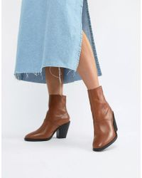 e629c30b6033 Lyst - ASOS Abe Wide Fit Leather Ankle Boots in Blue