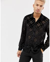ASOS - Regular Fit Argyle Burnout Check Shirt In Black - Lyst