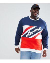 Ellesse - Sweatshirt With Logo Panel In Navy - Lyst