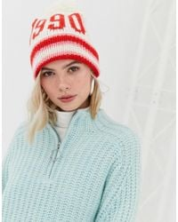 New Look - Pink And White 1990 Bobble Hat - Lyst