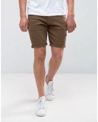 ASOS - Denim Shorts In Skinny Khaki With Abrasions - Lyst