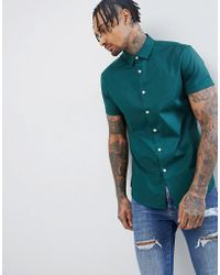 ASOS - Design Slim Shirt In Green With Short Sleeves - Lyst