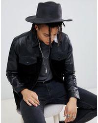 ASOS - Cappello Pork Pie con falda larga grigio scuro invecchiato - Lyst