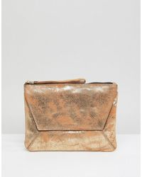 Oasis - Fold Over Metallic Clutch - Lyst