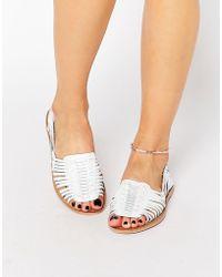 Warehouse - Huarache Plaited Sandal - White - Lyst