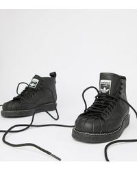 adidas Originals - Superstar Boot Luxe Trainers In Triple Black - Lyst