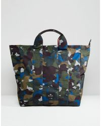 PS by Paul Smith - Canvas Floral Camo Tote In Khaki - Lyst