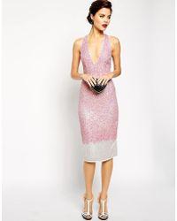 01e4c00022 ASOS - Asos Red Carpet Premium Embellished Midi Dress With Plunge Front -  Lyst