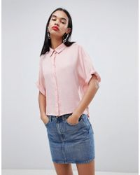 Weekday - Oversized Collar Shirt In Pale Pink - Lyst