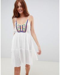 f44465f90ad South Beach - Crinkle Embroidered Beach Dress With Spaghetti Straps - Lyst