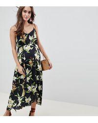 ASOS - Asos Design Maternity Button Through Maxi Dress In Lily Print - Lyst