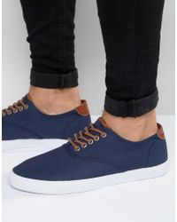 ASOS - Lace Up Plimsolls In Navy With Tan Trims - Lyst