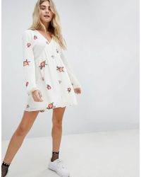 Honey Punch - Swing Dress With All Over Embroidery - Lyst