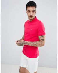Original Penguin - Raised Rib Pique Polo Slim Fit Embroidered Logo In Pink - Lyst