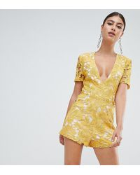 Missguided - Plunge Lace Playsuit - Lyst