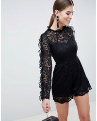 AX Paris - Long Sleeve Lace Playsuit - Lyst