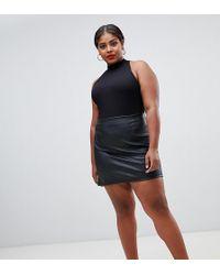ASOS - Asos Design Curve Sculpt Me Leather Look Mini Skirt - Lyst