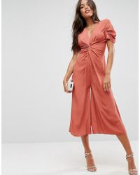 ASOS - Tea Jumpsuit With Knot Front - Lyst