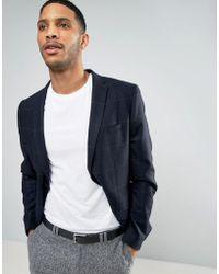Minimum - Wool Blend Slim Fit Check Jacket - Lyst