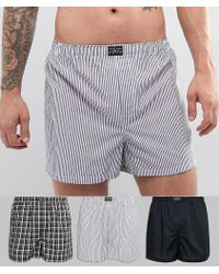 Polo Ralph Lauren - 3 Pack Woven Boxers In Black Solid/grey Stripe/green Check - Lyst