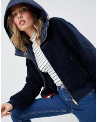 Tommy Hilfiger - Reversible Teddy Jacket With Hood - Lyst