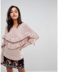 Vila - Ruffle Detail Knitted Jumper - Lyst