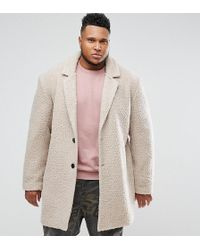 ASOS - Asos Plus Relaxed Borg Overcoat In Ecru - Lyst
