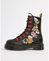 Dr. Martens - Nyberg Black Leather Embroidered Chunky Flatform Boots - Lyst