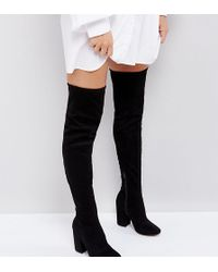 8fd61d4bbbca Asos Katcher Extra Wide Leg Over The Knee Boots In Wide Fit in Black ...