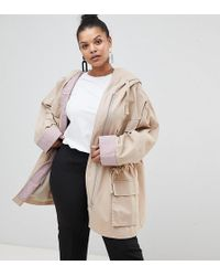 ASOS - Asos Design Curve Waterfall Parka With Contrast Liner - Lyst
