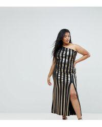 John Zack - One Shoulder Contrast Stripe Maxi Dress - Lyst