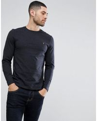 Farah - Denny Slim Fit Long Sleeve Logo T-shirt In Black Marl - Lyst